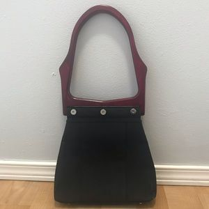 Vintage Wooden Handle Black purse